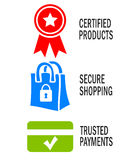 Veilige het winkelen pictogrammen Royalty-vrije Stock Foto's