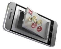 Veilige stortingsdoos in de mobiele telefoon Stock Afbeeldingen