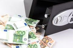 Veilige Stortingsdoos, Stapel van Contant geldgeld, Euro Stock Afbeelding