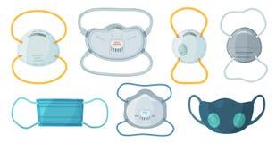 Veiligheid ademhalingsmaskers Bedrijfsveiligheidsn95 masker, het ademhalingsapparaat van de stofbescherming en ademhalings medisc stock illustratie