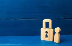 Veiligheid en alarmsysteem De veiligheidsdienst Twee sterke mensen in kostuums Houten cijfer van een persoon met hangsloten Drie  stock afbeelding