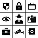 Veiligheid en veiligheids geplaatste pictogrammen Royalty-vrije Stock Fotografie