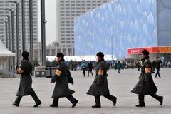 Veiligheid in het Nationale Centrum Aquatics van Peking Stock Fotografie