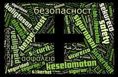 Veiligheid met symbool in veelvoudige talen Stock Foto