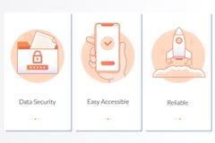 Veiligheid, snel en gemakkelijke lancering, de betrouwbare grafische instructie van de dienststappen Moderne blauwe interface UX, stock illustratie