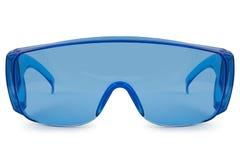 Veiligheids blauwe glazen Stock Afbeeldingen