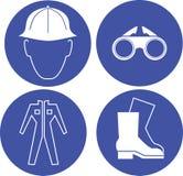 Veiligheids op het werk blauwe tekens Royalty-vrije Stock Foto