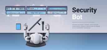 Veiligheidsagent bot die de robot die van het monitorscherm kabeltelevisie-het concepten hoogste hoek controleren van de camera's royalty-vrije illustratie