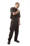 Veiligheidsagent die op wit wordt geïsoleerdl Stock Fotografie