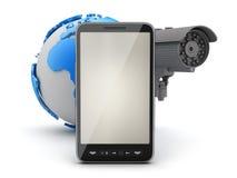 Veiligheidscamera, celtelefoon en aardebol Stock Foto