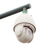 Veiligheidscamera, kabeltelevisie van witte achtergrond wordt geïsoleerd die Royalty-vrije Stock Fotografie