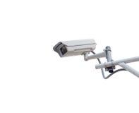 Veiligheidscamera op witte achtergrond wordt geïsoleerd die Royalty-vrije Stock Fotografie