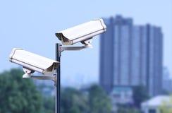 Veiligheidscamera openlucht, kabeltelevisie openlucht Royalty-vrije Stock Afbeelding