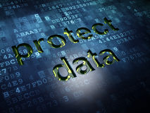 Veiligheidsconcept: Bescherm Gegevens over digitale het schermachtergrond Royalty-vrije Stock Foto
