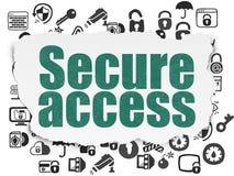 Veiligheidsconcept: Beveilig Toegang op Gescheurd Document stock illustratie