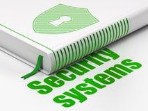 Veiligheidsconcept: boekschild met Sleutelgat, Veiligheidssystemen op witte achtergrond Stock Foto's