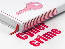 Veiligheidsconcept: boeksleutel, Cyber-Misdaad op witte achtergrond Royalty-vrije Stock Afbeeldingen
