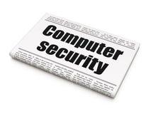 Veiligheidsconcept: de Computerbeveiliging van de krantenkrantekop Stock Afbeeldingen