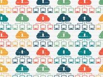 Veiligheidsconcept: De pictogrammen van het wolkennetwerk op muur Royalty-vrije Stock Afbeeldingen