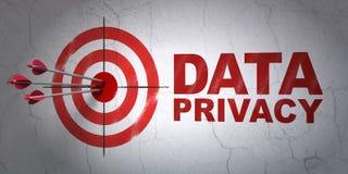 Veiligheidsconcept: doel en Gegevensprivacy op muurachtergrond Stock Fotografie
