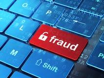 Veiligheidsconcept: Geopend Hangslot en Fraude op de bedelaars van het computertoetsenbord Royalty-vrije Stock Foto's