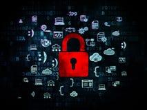 Veiligheidsconcept: Gesloten Hangslot op Digitaal Royalty-vrije Stock Afbeelding