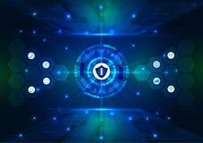Veiligheidsconcept, Gesloten Hangslot op digitaal, cyber veiligheid, blauwe abstracte hallo de technologie vectorachtergrond van  vector illustratie
