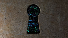 Veiligheidsconcept: hexuitdraaicode en binaire code in het sleutelgat CyberSecurity Bescherm code Stock Fotografie