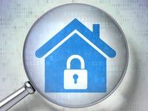 Veiligheidsconcept: Huis met optisch glas op digitale achtergrond royalty-vrije illustratie