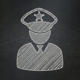 Veiligheidsconcept: Politie op bordachtergrond royalty-vrije stock fotografie