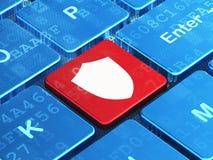 Veiligheidsconcept: Schild op de achtergrond van het computertoetsenbord Royalty-vrije Stock Foto