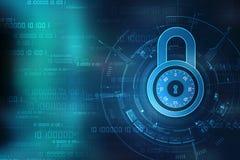 Veiligheidsconcept: Slot op het digitale scherm, cyber de achtergrond van het veiligheidsconcept 3d geef terug Royalty-vrije Stock Afbeelding