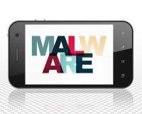 Veiligheidsconcept: Smartphone met Malware op vertoning Stock Afbeeldingen