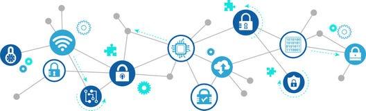 Veiligheidsconcept: veilig netwerk/IT veiligheid/blockchain - illustratie Stock Foto