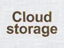 Veiligheidsconcept: Wolkenopslag op stoffentextuur Stock Foto
