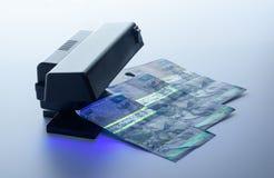 Veiligheidseigenschappen op bankbiljet in UVlichtbescherming Royalty-vrije Stock Fotografie