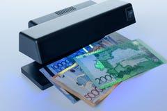 Veiligheidseigenschappen op bankbiljet in UVlichtbescherming Stock Afbeeldingen