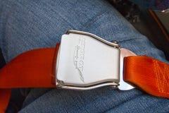 Veiligheidsgordel op Seat in Vliegtuig Royalty-vrije Stock Foto