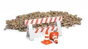 Veiligheidskegel en barrière en stapel van stenen vector illustratie