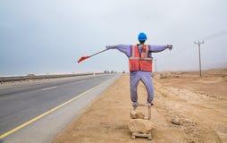 Veiligheidsledenpop op de kant van de weg Royalty-vrije Stock Foto