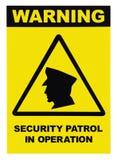 Veiligheidspatrouille in het waarschuwingsbordetiket van de verrichtingstekst, geïsoleerde, grote gedetailleerde verticale close- royalty-vrije stock afbeeldingen