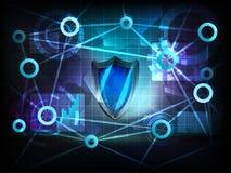Veiligheidsschild in het netwerkvector van de bedrijfslevenoverdracht Stock Foto's