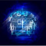 Veiligheidssysteem van slim huis 3d röntgenstraal van het huisplan Royalty-vrije Stock Fotografie