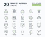 Veiligheidssystemenpictogrammen die met Lineaire Stijl worden geplaatst stock illustratie
