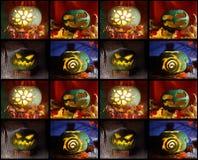 Veille de la toussaint collage des images de la tête du ` s de Jack faite de potiron Photo stock