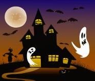 Veille de la toussaint a hanté la maison fantasmagorique illustration stock