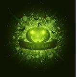 Veille de la toussaint heureuse Bannière de ruban Éclair lumineux abstrait de lumière avec les feux verts Potiron mauvais, araign Photos libres de droits