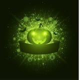 Veille de la toussaint heureuse Bannière vide de ruban Éclair lumineux abstrait de lumière avec les feux verts Potiron mauvais, a Photographie stock libre de droits