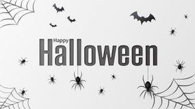 Veille de la toussaint heureuse Dirigez le modèle d'isolement avec les araignées accrochantes et maniez la batte l'araignée pour  illustration libre de droits
