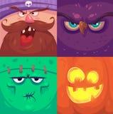 Veille de la toussaint heureuse Ensemble de caractères de Halloween illustration de vecteur